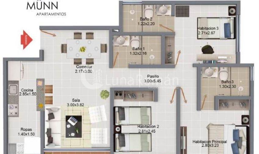 Luna roman apartamento en proyectos los patios c cuta for Distribucion apartamento 50 m2